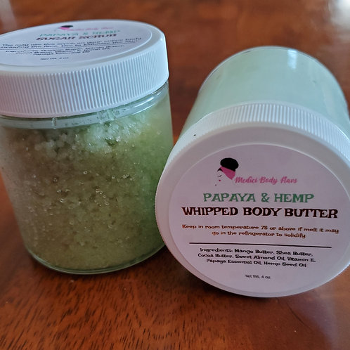 Papaya Whipped Body Butter & Sugar Scrub Combo