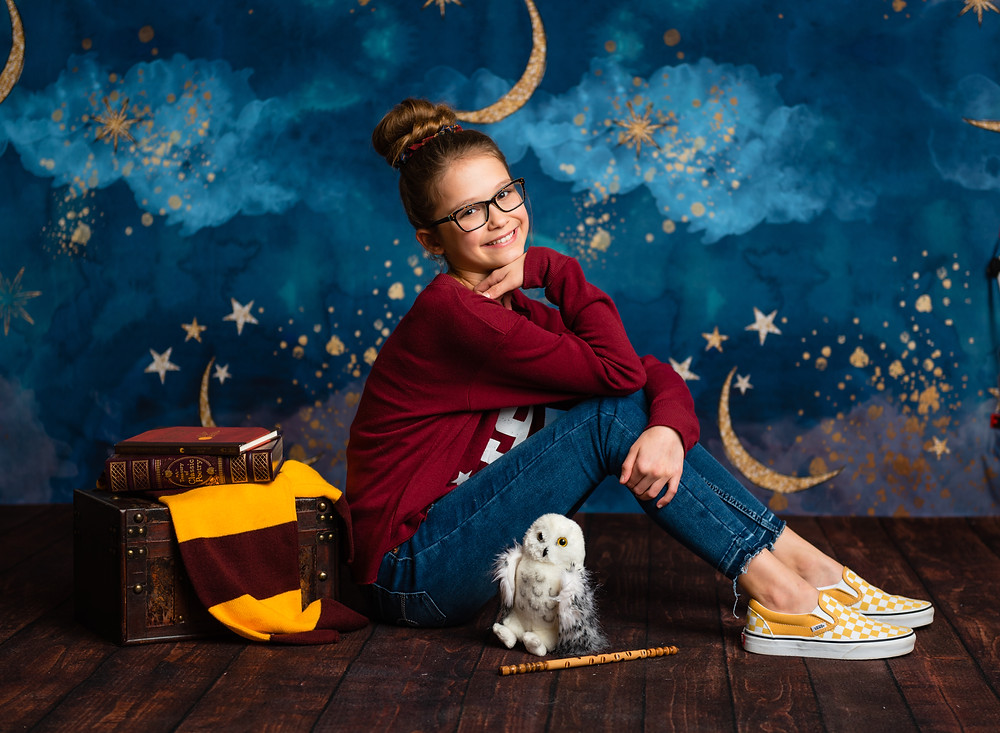 Harry Potter, photography, milestone, tween, studio photography, star backdrop, moon and stars, children photography