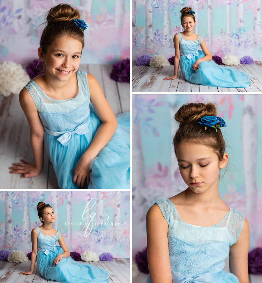 purple backdrop, teal backdrop, birch trees, whimsical, pastel backdrop, studio photography, milestone session, milestone, cakesmash, children photography, portraits, tween model, tween photography, baby photography