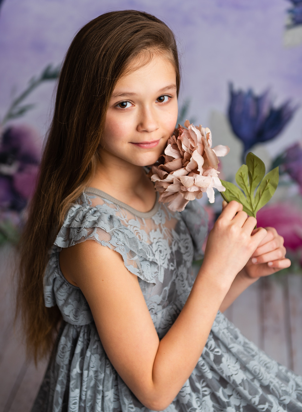 purple backdrop, floral backdrop, watercolor, flowers, ,studio photography, senior photography, milestone session, milestone, cakesmash, children photography, portraits, tween model, tween photography, baby photography