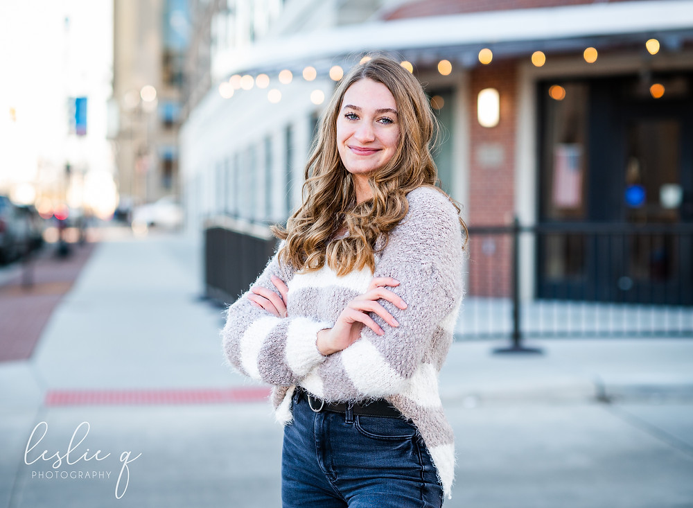 High school senior session downtown South Bend, Indiana. Photographed by Leslie Q Photography in New Carlisle, IN.