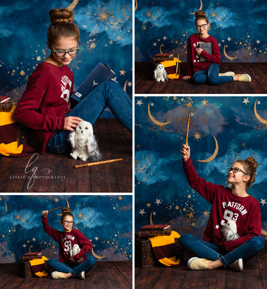 Harry Potter, hp, stars and moon, starry night backdrop, Harry Potter photoshoot, Harry Potter session, studio photography, senior photography, milestone session, milestone, cakesmash, children photography, portraits, tween model, tween photography, baby photography