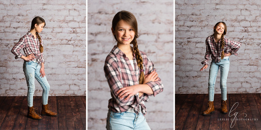 studio photography, senior photography, children photography, brick wall, backdrop, portraits, tween model, tween photography