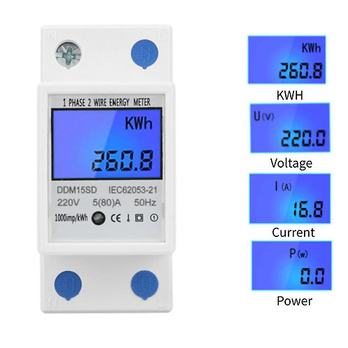 DDM15SD Electronic Power Meter 5-80a Single Phase Two Wire Electronic KWh Meter