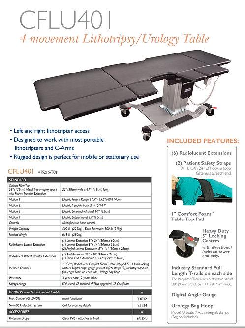 Oakworks CFLU401 4-Movement Lithotripsy/Urology Table