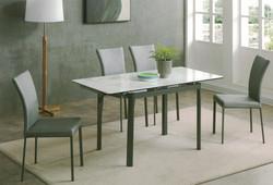 Dining Table DT-6830-WG-TR 爵士白陶瓷玻璃 配鉛色腳.