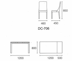 Dining Table DT-1037-TR 爵士白陶瓷玻璃 S