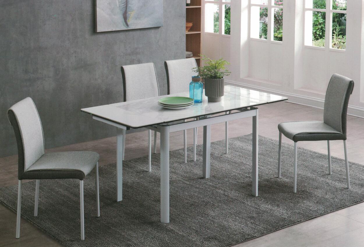 Dining Table DT-6830-WW-TR 爵士白陶瓷玻璃 配白色腳.