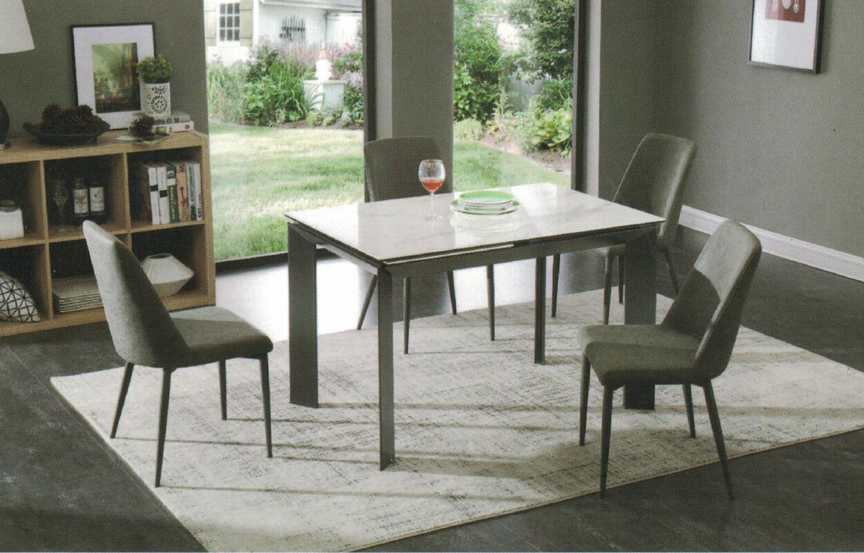 Dining Table DT-1037-TR 爵士白陶瓷玻璃 C