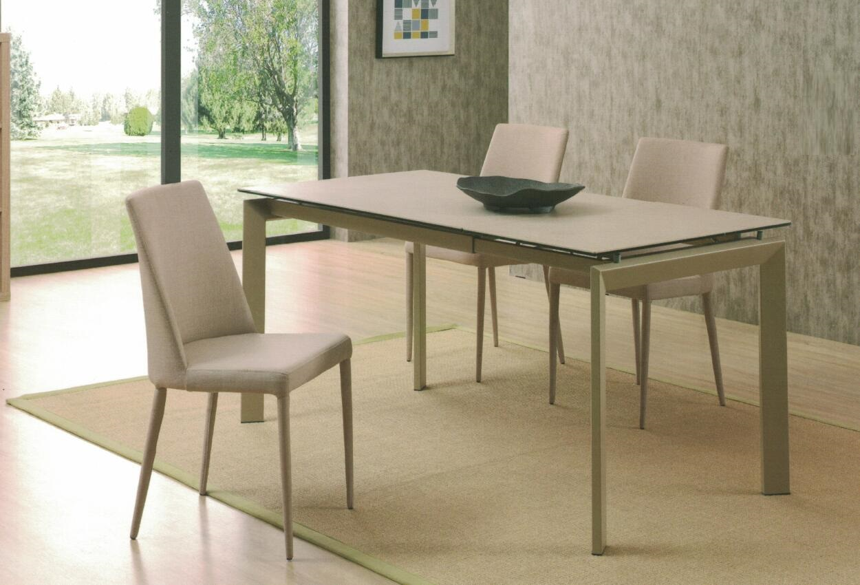 Dining Table DT-3703L-TR 乳白陶瓷玻璃