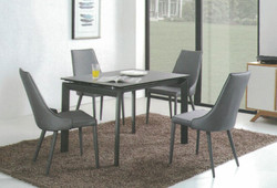 Dining Table DT-3703L-02-TR 鉛色陶瓷玻璃 C