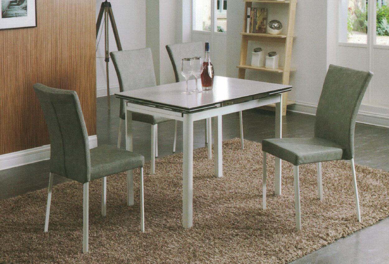 Dining Table DT-6830-GW-TR 水泥灰陶瓷玻璃 C