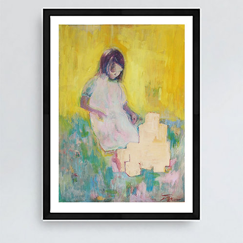 Girl and Building Blocks - Signed Giclee Print
