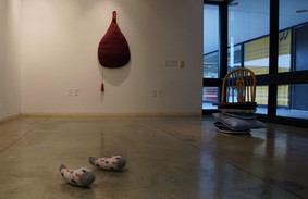 Installation view: Trophy Toes / Bloated Portrait 4/4 / Stay awhile/Belly roll