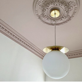 pink ceiling and plaster mouldings