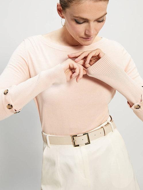 Jersey de punto rosa con botones