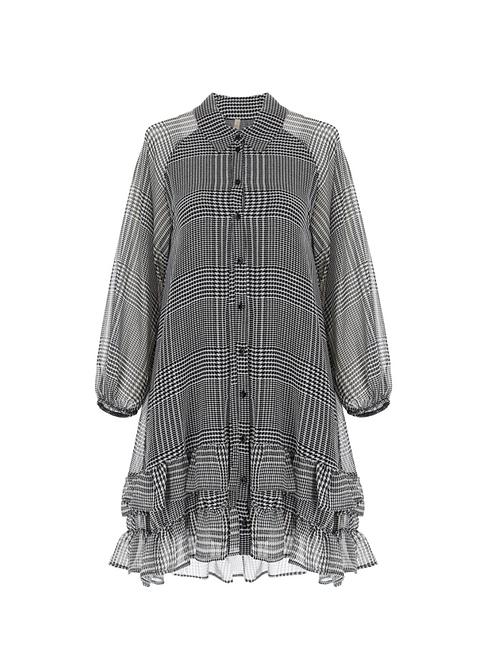 Glen Plaid Shirt Dress with Ruffles