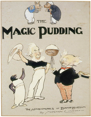 Frontpiece for Norman Lindsay, The Magic Pudding: Being the Adventures of Bunyip Bluegum and His Friends Bill Barnacle & Sam Sawnoff (Sydney: Angus & Robertson, 1918)