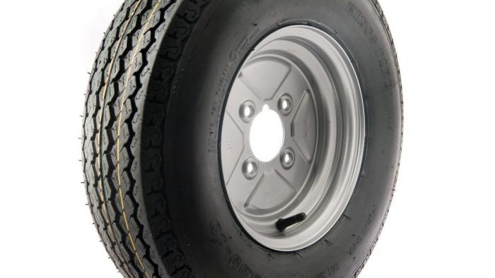 "500x10 wheel and tyre 4 x 4"" PCD"