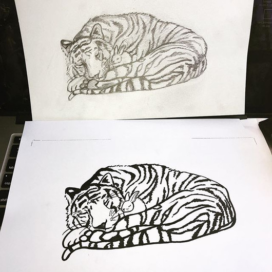 Bunny and Tiger Tattoo Design