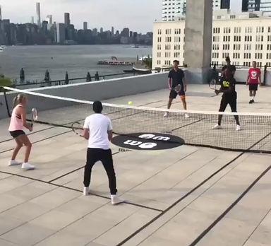 Jessica Popiol Gael Monfils Karen Khachanov rooftop tennis NYC