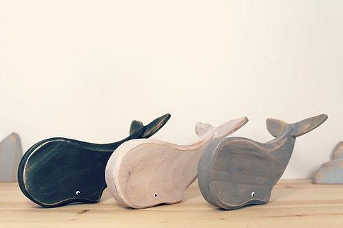 Baleine jouet en bois recyclé
