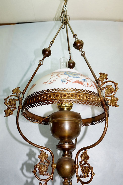Hanging Oil Lamp With Hand Painted Shade