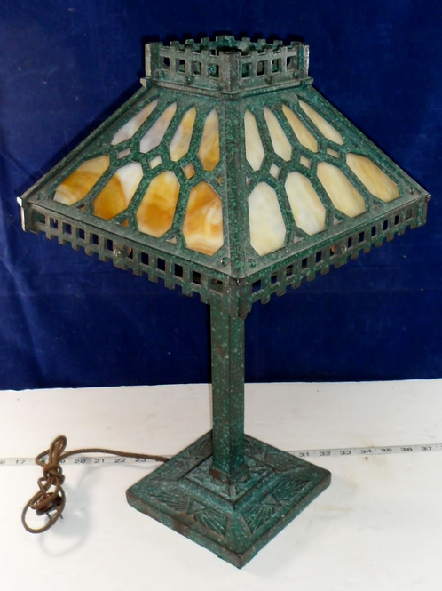 Arts and Craft Cast Iron Table Lamp With Slag Glass Panels