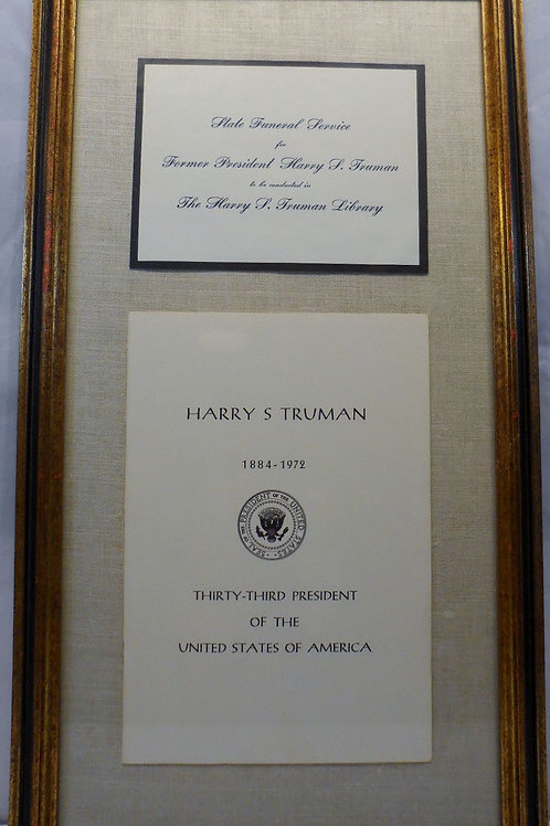 """Invitation State Funeral Service of President """"Harry S Truman"""" 1972"""