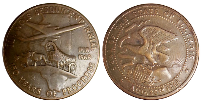 1818 - 1968 Commemorative Coin State of Illinois