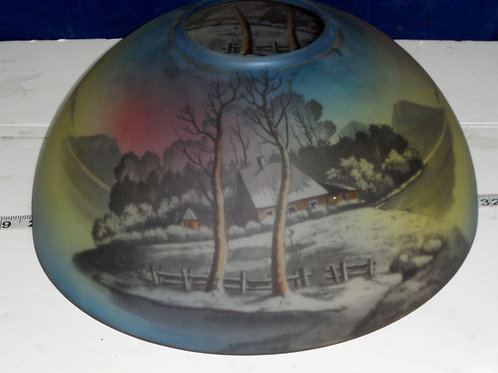 12in Reverse Painted Glass Shade For Oil Lamp