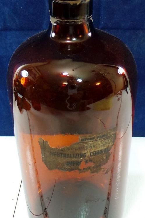 Amber Large Medicine Bottle With Cork Lid