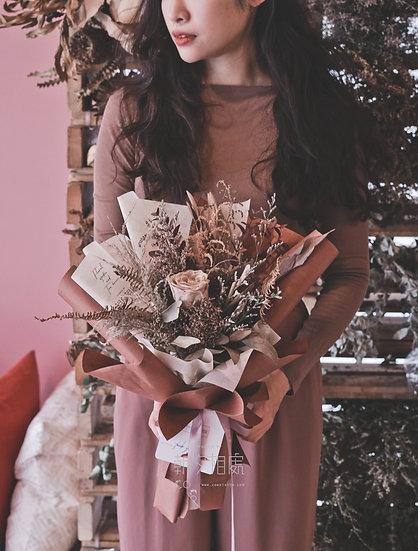永生茶色玫瑰花束