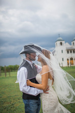 Bride and Cowboy Groom