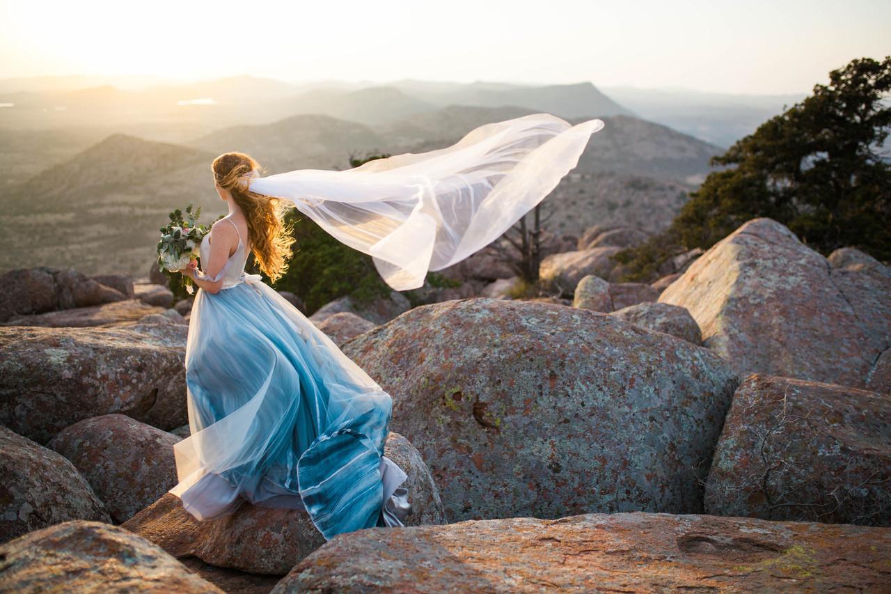 Bride looking into the wind