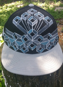 Geometric Crown Handpainted Hat