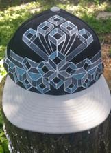 Geometric Crown Handpainted Hat