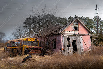 School Bus, Rt. 23, Lewes, Delaware - Richard Calvo Photography