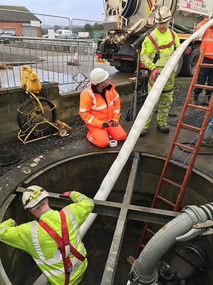 Installing SaniTube winching through existing 200mm Main on Treatment Works
