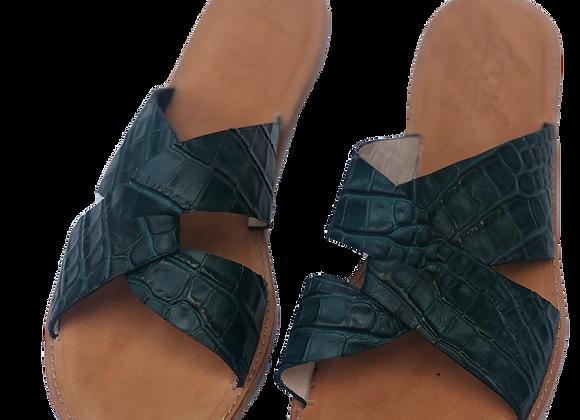 Sandalias Croco verde