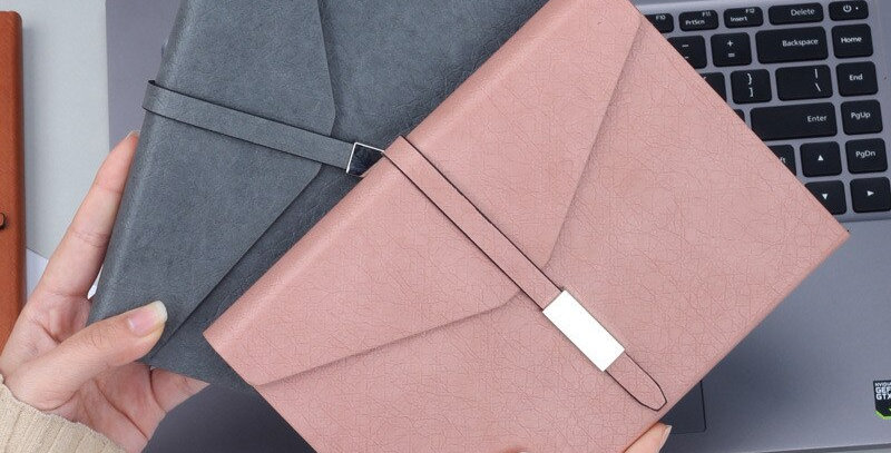 Folding Faux Leather Notebook