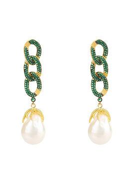 Pearl Link Chain Drop Earrings