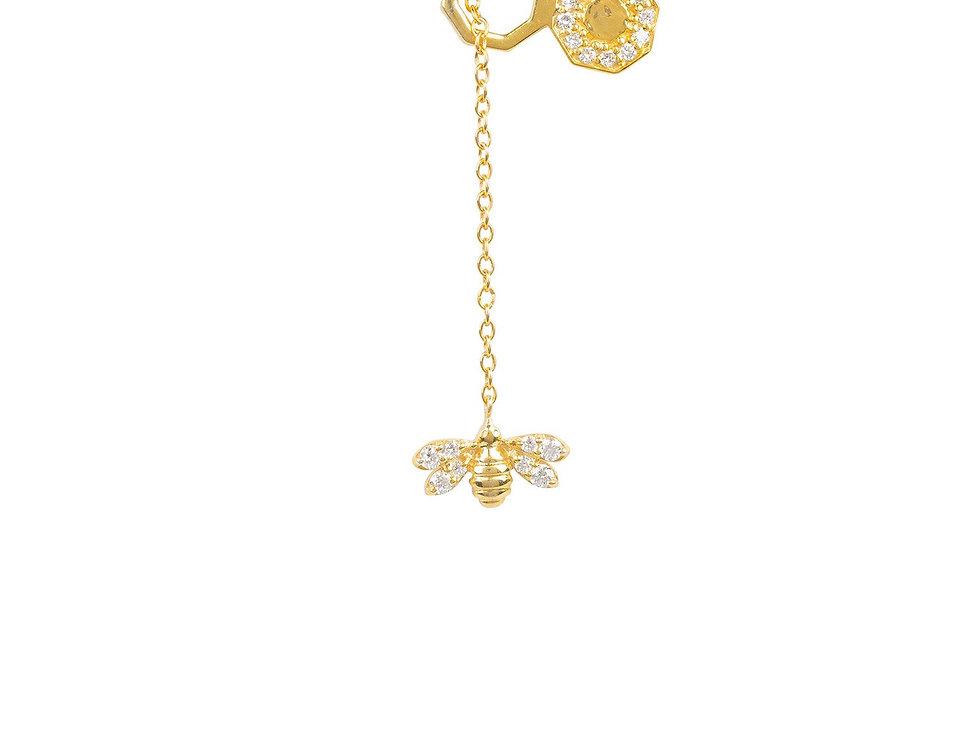Diamond Honey Bee Comb Pendant Necklace