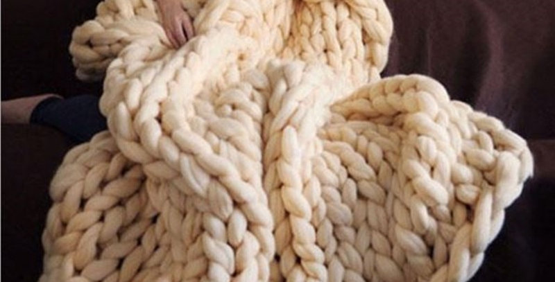 Chunky Wool Knitted Blanket