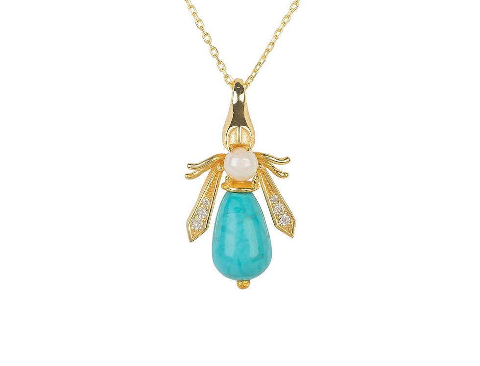 Turquoise & Pearl Bee Pendant Necklace