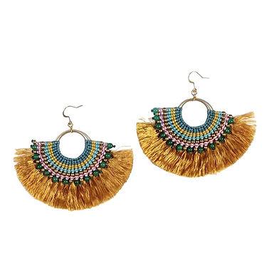 Beaded Fan Earrings