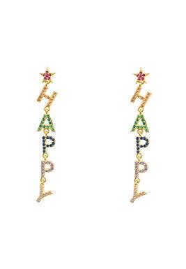 Happy Rainbow Drops Earrings Gold