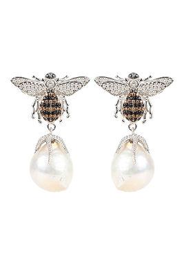 Pearl Honey Bee  Drop Earrings