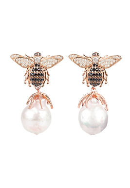 Pearl Honey Bee Drop Earring