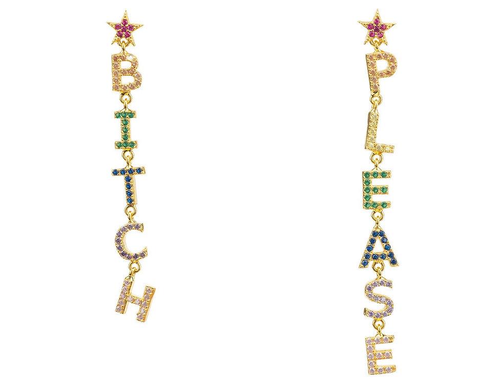 Bitch Please Rainbow Drop Earrings